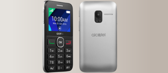 El alcatel 2008G en color plata y negro