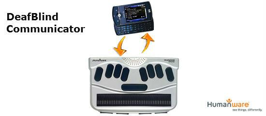 Imagen de un teclado Braille y un móvil, que compone el DeafBlind Communicator