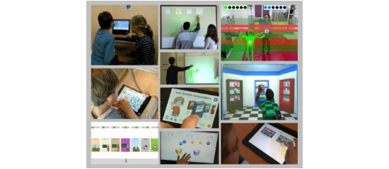 Mosaico de fotografías que muestran a usuarios con autismo utilizar apps en diferentes tipos de dispositivos móviles