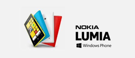 Imagen del Nokia Lumia 520 con el logo de Windows Phone en letras negras