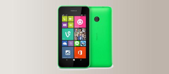 The Nokia Lumia 530 in green