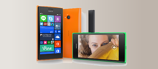 The Nokia Lumia 735 in several colors