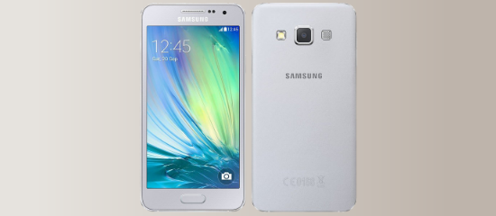 The Samsung Galaxy A3 in white