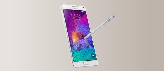 El Samsung Galaxy Note 4 en blanco