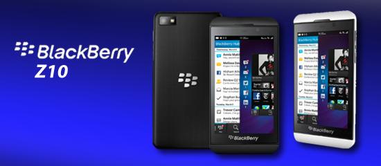 Imagen de la parte delantera y trasera del dispositivo BlackBerry Z10.